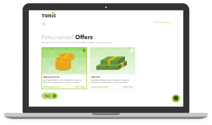 Tonic - Investor Portal - Tailored data feeds - desktop