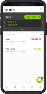 Tonic - Investor Portal - Full transparency - mobile